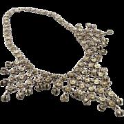 SALE Gypsy Necklace, Chain Mail, Silver Bells, Bib Necklace, Vintage Kuchi, Big Statement, Bel