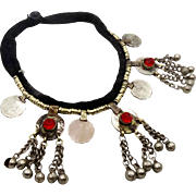 Kuchi Necklace, Afghan Jewelry, Red Accents, Bells Coins Dangles, Vintage Gypsy Jewelry, Turko