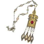 Vintage Ethnic Gypsy Gold Washed Necklace - Tribal Kuchi Afghan - InVintageHeaven