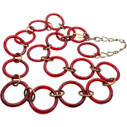 Lucite Belt Necklace, Vintage 1970s, Rootbeer Brown, Adjustable, Convertible, Mod Statement, .