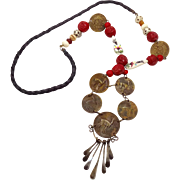 Peru Coin Necklace, Beaded Necklace, 1960s, Pottery Beads, Leather, Boho Statement, Un Sol Deo