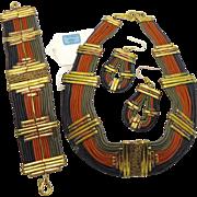 African Necklace, Jewelry Set, Earrings Bracelet, Kenya, Vintage Leather, Brass Copper, Mixed