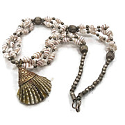 Tibetan Silver Shell Necklace - Vintage, Unique Beach Inspired - InVintageHeaven