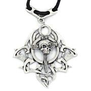 Vintage Skull Sword Dagger - Pendant Necklace - Gothic Biker 1980s - Unisex- InVintageHeaven