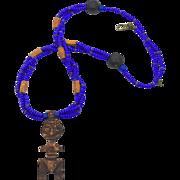 Tribal Carved African Necklace - Vintage Bone, Wood & Glass Beaded - Ethnic Boho Tribal - ...