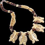Wood Necklace, Carved Bone, Fish, Boho Statement, Beaded Necklace, Vintage Jewelry, Bohemian .