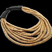 Wood Necklace, Boho Statement, Beaded Necklace, Vintage Multi-Strand, Oversized, Bohemian Gyps