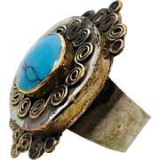 Afghan Ring, Kuchi Ethnic Bedouin Jewelry, Boho Bohemian, Size 11, Compressed Turquoise, Mens