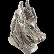 Dragon Silver Ring - Vintage HUGE BIG - 800 Silver - Medieval Renaissance - Size 12 1/2 - Invi