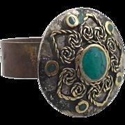 Gypsy Ring - Afghan Ethnic - Big Mixed Metals & Green - Adjustable - InVintageHeaven