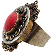 Red Coral Ring, Afghan Ring, Vintage Ring, Kuchi Ethnic, Bedouin, Size 10.5, Mens Mans, Unisex