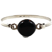Black Onyx Bracelet, Hinged Bangle Cuff, Sterling Silver, Vintage Bracelet, Taxco Mexico, Stac