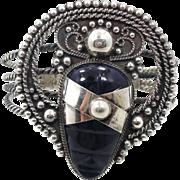 Mask Bracelet, Blue Obsidian, Mexico Carved, Sterling Silver, Vintage Cuff, Aztec Face, Big ..