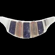 Blue Sodalite Cuff, Blue Stone, Sterling Silver, Cuff Bracelet, Vintage Bracelet, Heavy 925, .