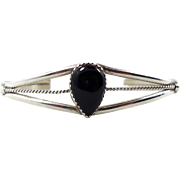 Black Onyx Cuff, Vintage Bracelet, Sterling Silver, Native American, Boho Statement, Bohemian,