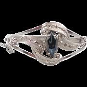 Black Hematite, Filagree Bracelet, Sterling Silver, Vintage Bracelet, Sorrento Bracelet, Big S