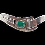 Green Malachite Sterling Silver Cuff Bracelet - Vintage Taxco Mexico - InVintageHeaven