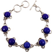 Lapis Bracelet, Sterling Bracelet, Vintage Jewelry, Links Linked, Station, Ethnic Boho, Bohemi
