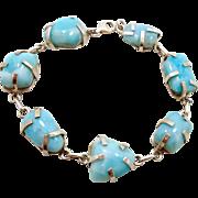 Larimar Blue Sterling Silver Bracelet - Vintage Dolphin Stones Free Form Shapes - ...