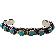 Turquoise Bracelet, Unique Flowers, Sterling Silver Cuff, Small Wrist, Mexico Gund, Older Piec