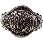 Middle Eastern Cuff, Sterling Silver, Vintage Bracelet, Cuff Bangle, Ornate Odd, Unique Unusua