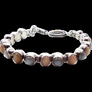 Moonstone Bracelet, Cat's Eye Moonstone, Peach Blue, Sterling Silver, Vintage Bracelet, Links