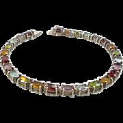 Gemstone Bracelet, Multi Stones,Peridot Citrine, Garnet Amethyst, Blue Topaz, Sterling Silver,