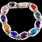 Turquoise Bracelet, Multi-Stone, Sterling Bracelet, Lapis Gaspeite, Malachite, Onyx, Spiny Oys