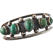 Green Turquoise Sterling Silver Cuff Bracelet - Vintage Older Piece Mexico - InVintageHeaven
