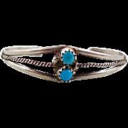 Baby Child Doll, Turquoise Bracelet, Sterling Silver, Cuff Bracelet, Vintage Bracelet, Native