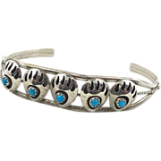 Bear Paw Shadowbox Turquoise Sterling Silver Cuff Bracelet - Vintage Native American - ...