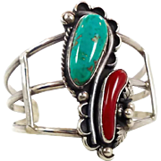 Turquoise Bracelet, Coral, Sterling Silver, Cuff Bracelet, Vintage Bracelet, Native American,