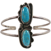 Turquoise Sterling Silver Cuff Bracelet - Vintage Older Piece - Double Two Stones - ...