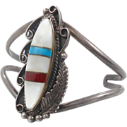 Mother-of-Pearl Turquoise Coral Silver Cuff Bracelet - Vintage Native American Older Piece - I