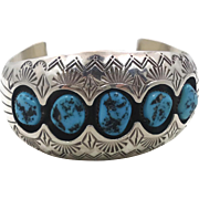 Turquoise Cuff, Sterling Silver, Vintage Bracelet, Navajo, Signed, P. Benally, Shadowbox, ...