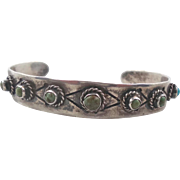 Turquoise Bracelet, Sterling Silver, Vintage Cuff, Snake Eye Stones, Mexico, Older Piece, Smal