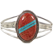 Turquoise & Red Coral Sterling Silver Cuff Bracelet - Vintage Running Bear - InVintageHeaven