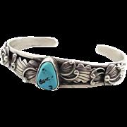 Turquoise Cuff, Sterling Silver, Vintage Bracelet, Detailed Ornate, Signed, Small Wrist, Nativ