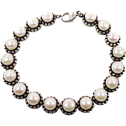Pearl Bracelet, Sterling Silver, Vintage Bracelet, Cultured Pearls, Tennis Bracelet, Honora De