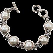 Pearl Bracelet, Sterling Silver, Vintage Bracelet, Cultured Pearls, White Pearl, 925, Tennis B