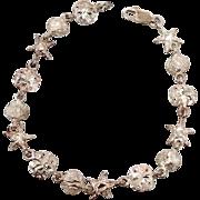Beach Bracelet, Sterling Silver, Star Fish, Vintage Bracelet, Sand Dollar, Mermaid, Diamond-Cu