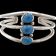 Turquoise Bracelet, Sterling Silver, Cuff Bracelet, Vintage Navajo Yazzi, Signed, Boho Jewelry