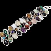 Vintage Bracelet, Multi Stone, Sterling, Moonstone, Onyx, Big Wide, Amethyst, Lapis, Malachite