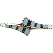 Sterling Silver, Opal Cuff, Sodalite, Vintage Bracelet, Inlay Inlaid, Native American, Heavy .