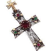 Vintage Cross, Sterling Silver, Ruby Red, Emerald Green, Filagree, Gold Wash, Simulated Gemsto
