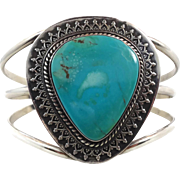 Turquoise Cuff, Sterling Silver, Cuff Bracelet, Vintage Jewelry, Large Stone, Boho Statement,