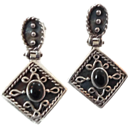 Black Onyx Earrings, Sterling Silver, Vintage Earrings, Ethnic Tribal, Boho Statement, Bohemia