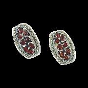 Garnet & Marcasite Sterling Silver Earrings - Vintage Pierced - InVintageHeaven
