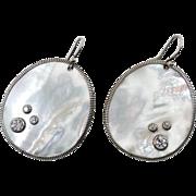 Shell Earrings, Mother of Pearl, Sterling Silver, White MOP, Vintage Earrings, CZs, Pierced Da