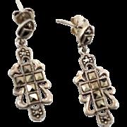 Marcasite Earrings, Cross Earrings, Sterling Silver, Vintage Earrings, Dangle, Pierced, Statem